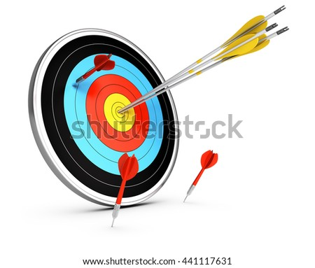 3D illustration of three arrows hitting the center of a target and three darts failed to reach the objective. Conceptual image over white background. Concept of competitive advantage. - stock photo
