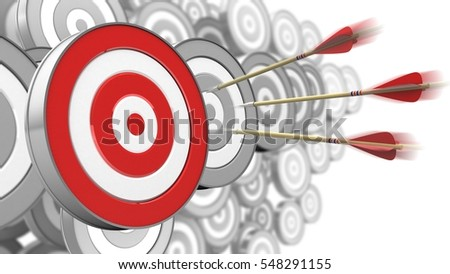 3d illustration of three arrows motion with target over many targets background