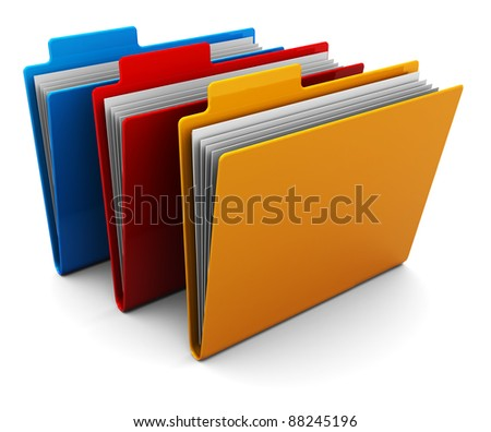 3d illustration of three colorful folders over white background - stock photo