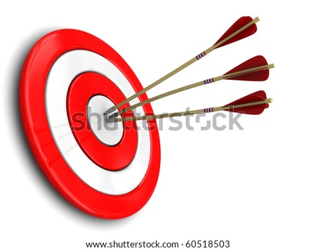 3d illustration of three darts in target center, over white background - stock photo