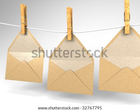 3D illustration of three envelopes hanging on a clothesline - stock photo