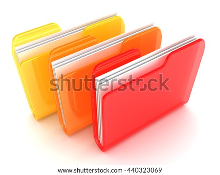 3d illustration of three folders ornage and red colors
