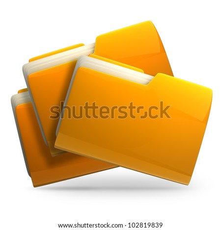 3d illustration of three folders with paper isolated on white background High resolution - stock photo