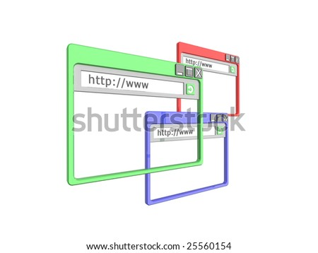 3d Illustration of three internet browser windows, isolated on a white background. Part of a series of browser window, and internet concept images. - stock photo