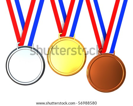 3d illustration of three medals isolated over white background