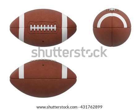 3D Illustration of  three sides of american football ball with black wireframe on white background