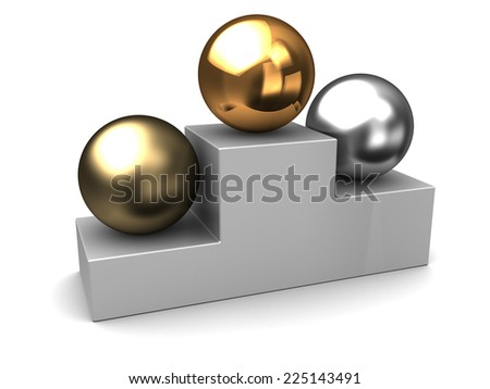 3d illustration of three spheres, competition places concept - stock photo