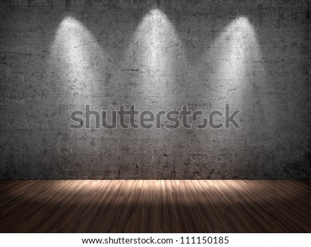 3D illustration of three spotlights on concrete wall - stock photo