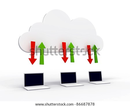 3d illustration of three white laptops uploading and downloading data to a abstract cloud server