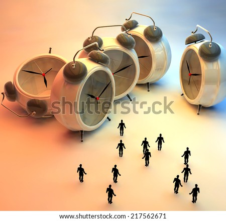 3d illustration of tiny people and alarm clocks, time passing concept - stock photo