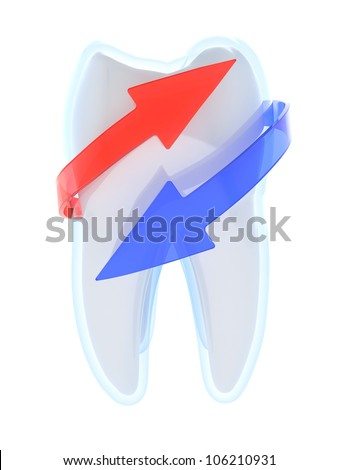 3D illustration of tooth with red and blue arrows - tooth protection