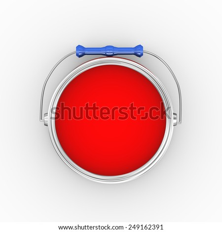 3d illustration of topiew of open red paint bucket can on white background  - stock photo