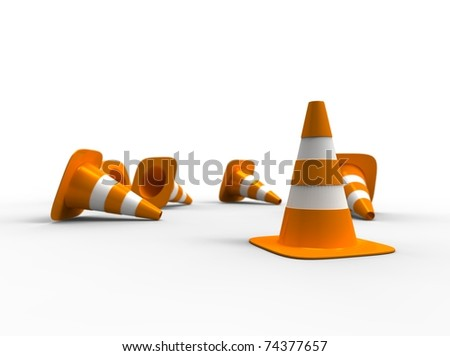 3d illustration of traffic cone knock over on white background - stock photo