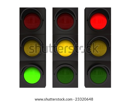 3d illustration of traffic lights with different colors on - stock photo