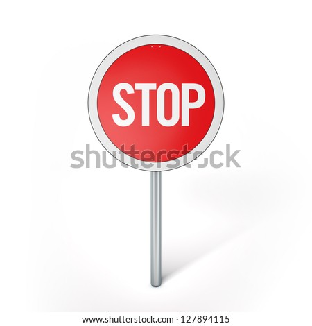 3D Illustration of Traffic Sign Render isolated on White Background
