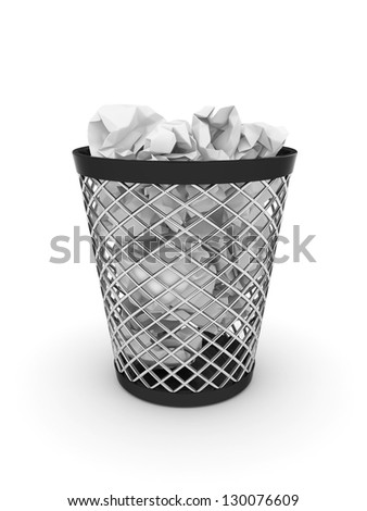 3d illustration of trash bin with crumpled paper. Isolated on white background - stock photo