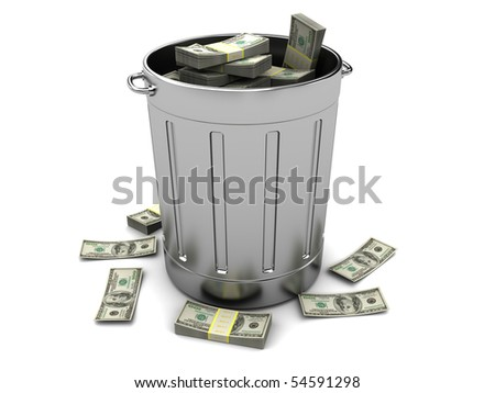 3d illustration of trashcan full of money, over white background - stock photo