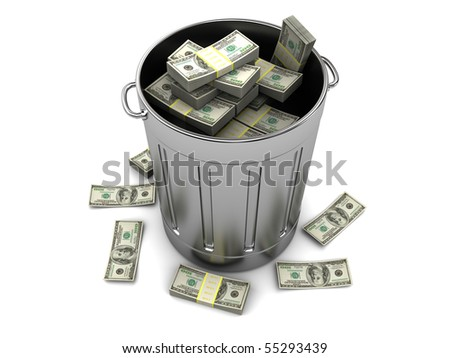 3d illustration of trashcan with dollars, over white background - stock photo