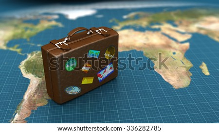 3d illustration of travel luggage on world map - stock photo