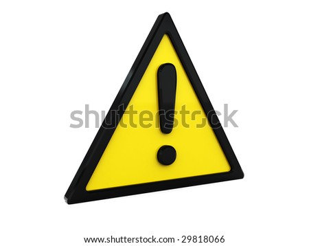 3d illustration of triangle warning symbol over white background