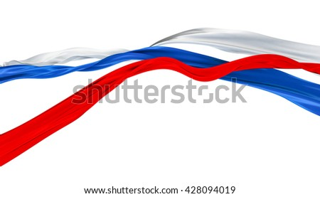3D Illustration of TriColor Cut Ribbons Waving - Isolated - stock photo
