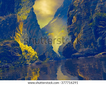 3D Illustration of tropical landscape with large rocks, vegetation and a river with calm waters - stock photo