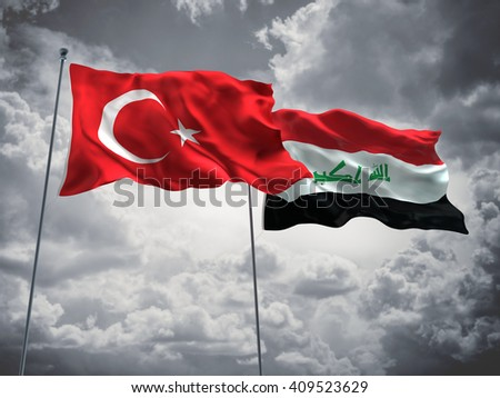 3D illustration of Turkey & Iraq Flags are waving in the sky with dark clouds  - stock photo