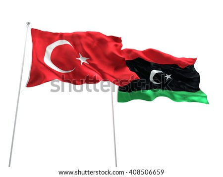 3D illustration of Turkey & Libya Flags are waving on the isolated white background - stock photo