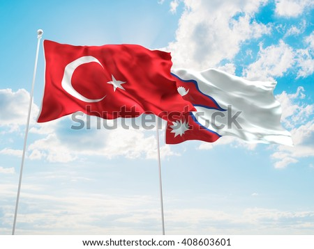 3D illustration of Turkey & Nepal Flags are waving in the sky - stock photo
