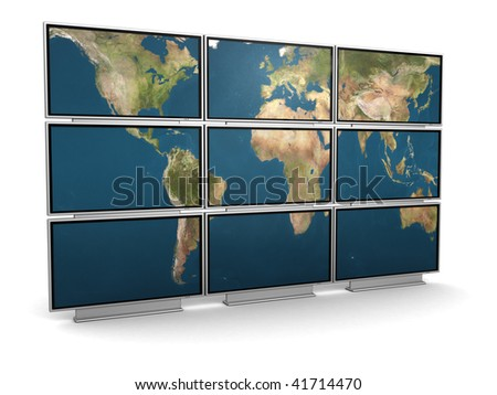 3d illustration of tv wall with world map on it - stock photo