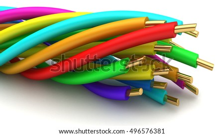 3d illustration of twisted wires over white background