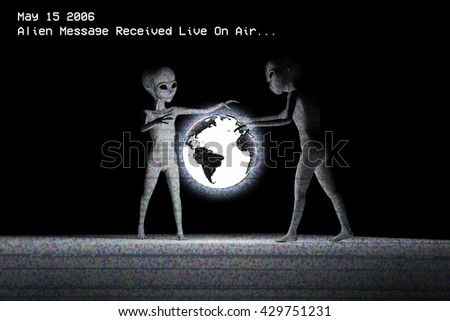 3d illustration of two aliens that watching a planet earth hologram  - stock photo