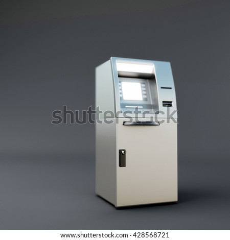 3d illustration of two atm isolated on dark gray background - stock photo