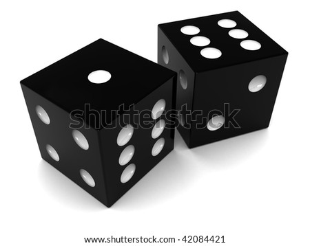 3d illustration of two black dices over white background
