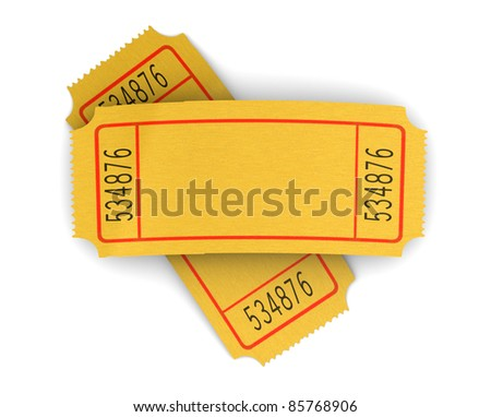3d illustration of two blank cinema tickets, over white background - stock photo