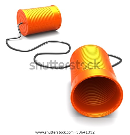 3D Illustration of two cans connected with a cord, metaphor for communication - stock photo