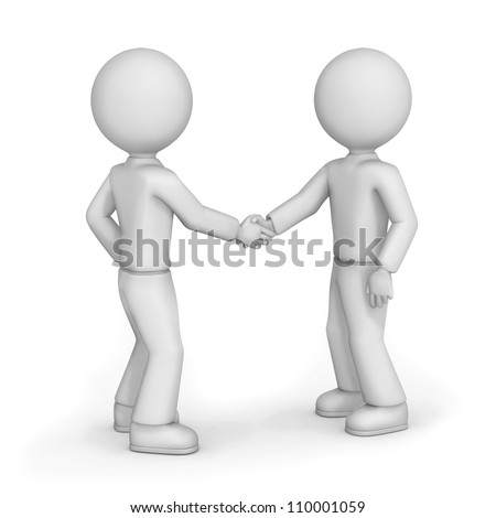 3d illustration of two cartoon friends with blank faces shaking hands, white background. - stock photo