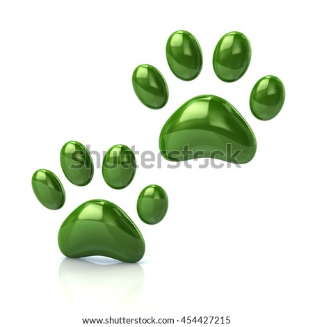 3d illustration of two cat's green paws  isolated on white background