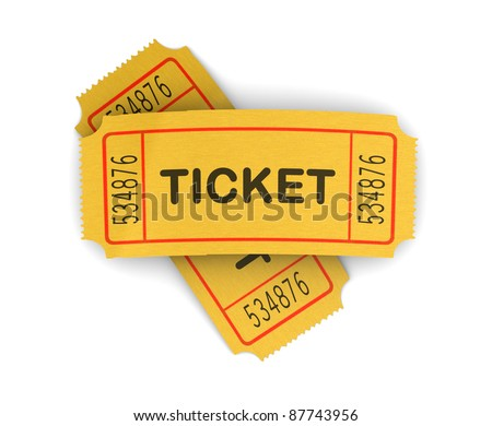 3d illustration of two cinema tickets over white background - stock photo