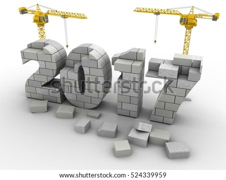 3d illustration of two cranes over white background with 2017 year construction