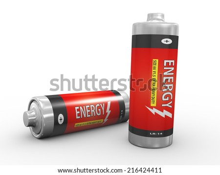 3d illustration of two fully charge batteries on white background