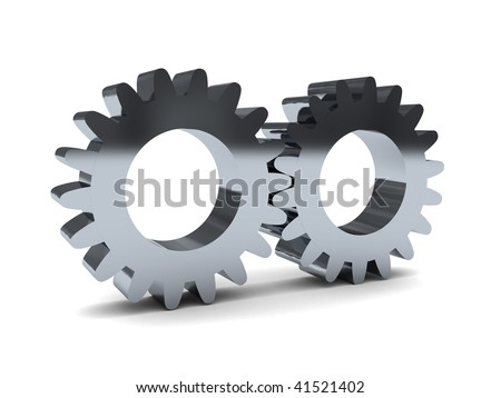 3d illustration of two gear wheels over white background - stock photo