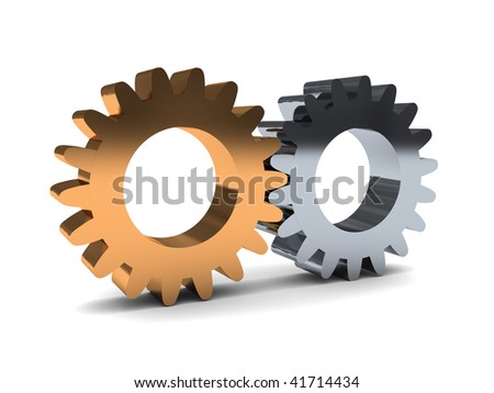 3d illustration of two gear wheels system over white background