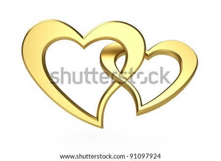 3d illustration of two gold hearts isolated on white - stock photo
