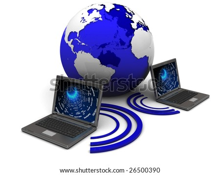 3d illustration of two laptops wireless connected and earth globe