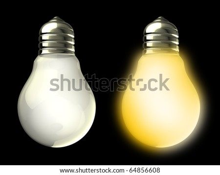 3d illustration of two light bulbs on and off, over black background - stock photo