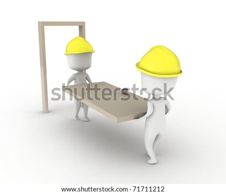 3D Illustration of Two Men Carrying a Door - stock photo