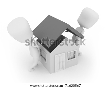 3D Illustration of Two Men Putting the Roof of a House - stock photo