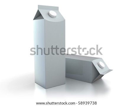3d illustration of two milk or juice packs over white background