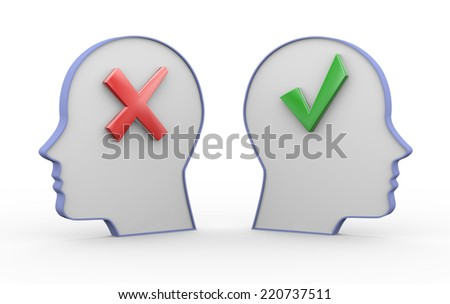 3d illustration of two opposite human heads having correct right tick mark and cross wrong symbol sign. - stock photo